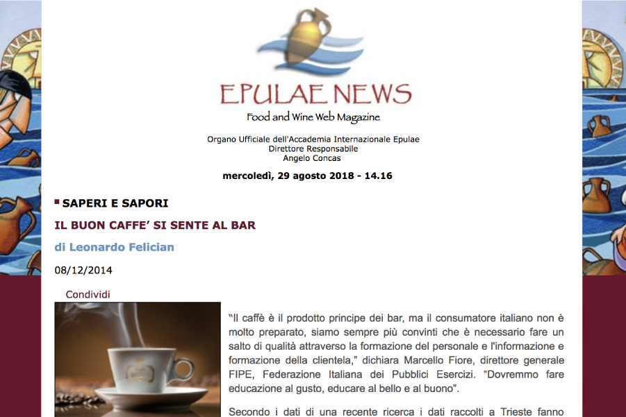 IL BUON CAFFE' SI SENTE AL BAR